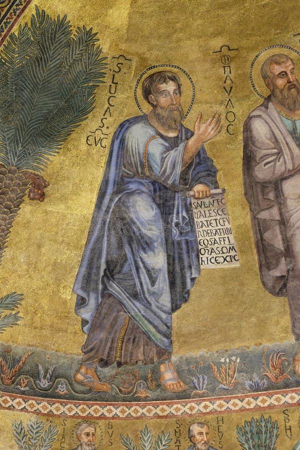 Saint Luke. Mosaic in the basilica of Saint Paul Outside the Walls, Rome, Italy stock photography