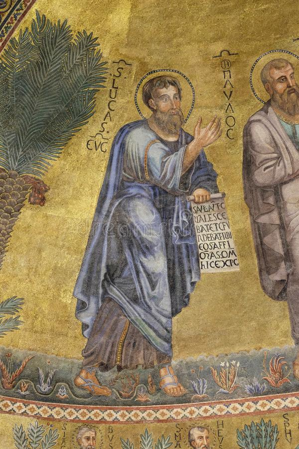 Saint Luke. Mosaic in the basilica of Saint Paul Outside the Walls, Rome, Italy royalty free stock photography