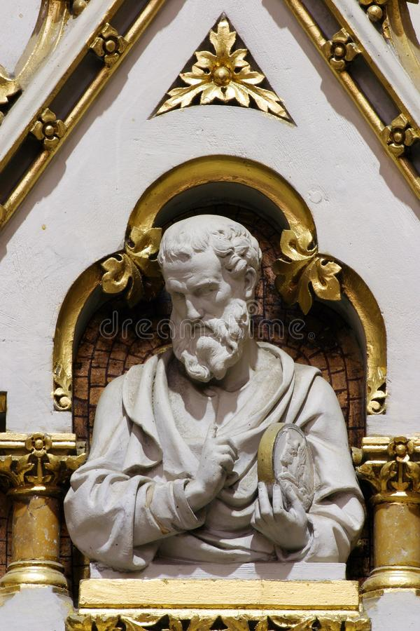 Saint Luke rhe Evangelist. Statue on the main altar in Zagreb cathedral stock photography