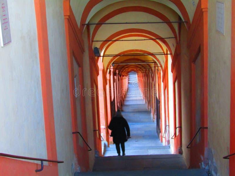 Saint Luke& x27;s arcades in Bologna in Italy royalty free stock photos