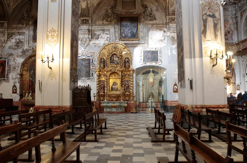 Saint Madeleine church in Seville side walls stock images