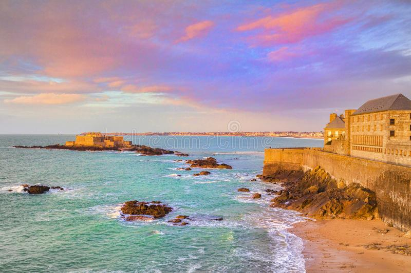 Saint-Malo Brittany France Ramparts and Old Town, Coastline. The old town and ramparts of Saint-Malo, Brittany, France, and Fort National stock photography