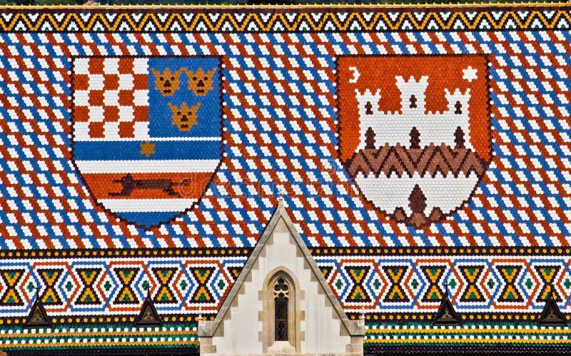 Saint Marco church roof with Croatian coat ofarms royalty free stock image