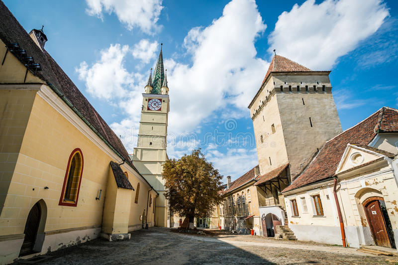 Saint Margaret Church et tour de Steingasser dans les médias, Roumanie photos libres de droits