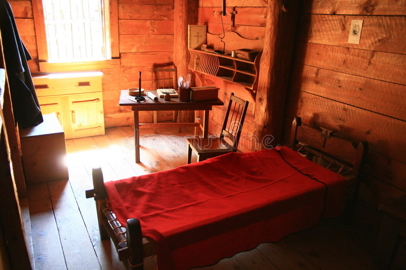 Saint-Marie-Among-the-Huron historic site. Reconstructed 17th century living quarters at Saint-Marie-Among-the-Huron historic religious site near Midland stock photo