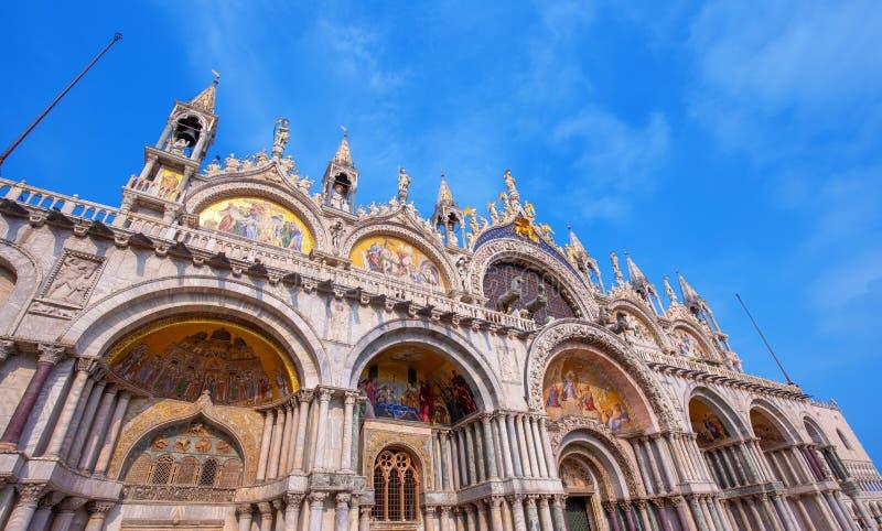 Saint Mark`s Basilica in Venice, Italy. Facade of Saint Mark`s Basilica in Venice, Italy stock photo