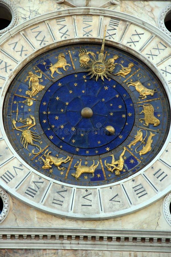 Saint Mark square clock tower, Venice. A detail of Saint Mark square clock tower in Venice, Italy royalty free stock photos
