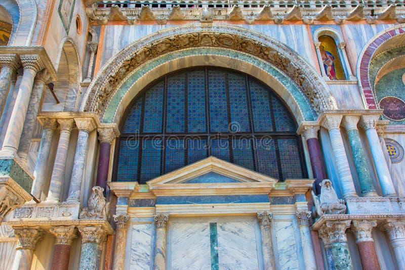 Saint Marks Basilica (Basilica di San Marco), Cathedral. Venice. Facade at the St Mark's Basilica (Basilica di San Marco) in Venice, Cathedral, Architecture royalty free stock images