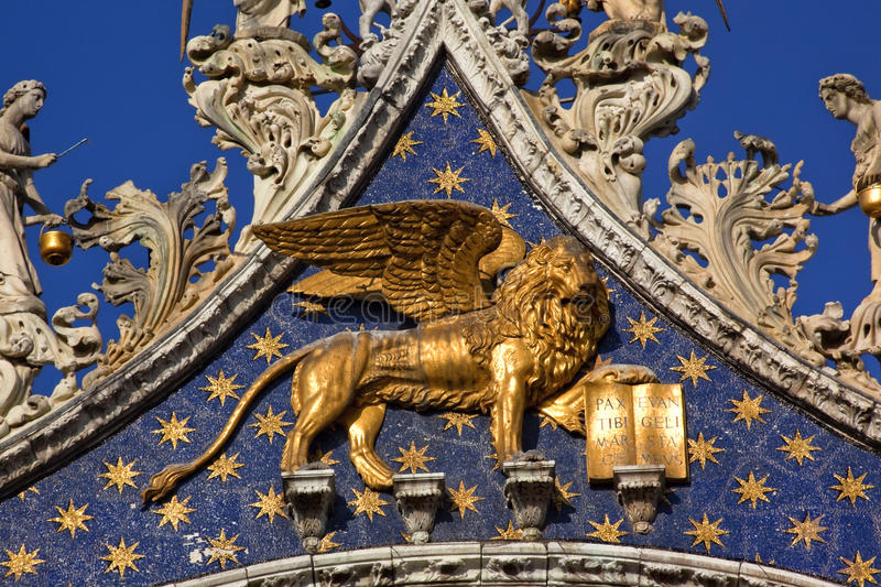 Saint Marks Basilica Golden Lion Venice royalty free stock photography