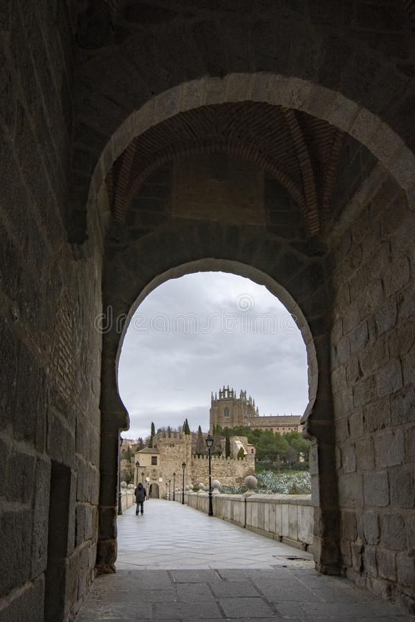 Saint Martin Bridge across Tagus River, Toledo, Spain stock photography