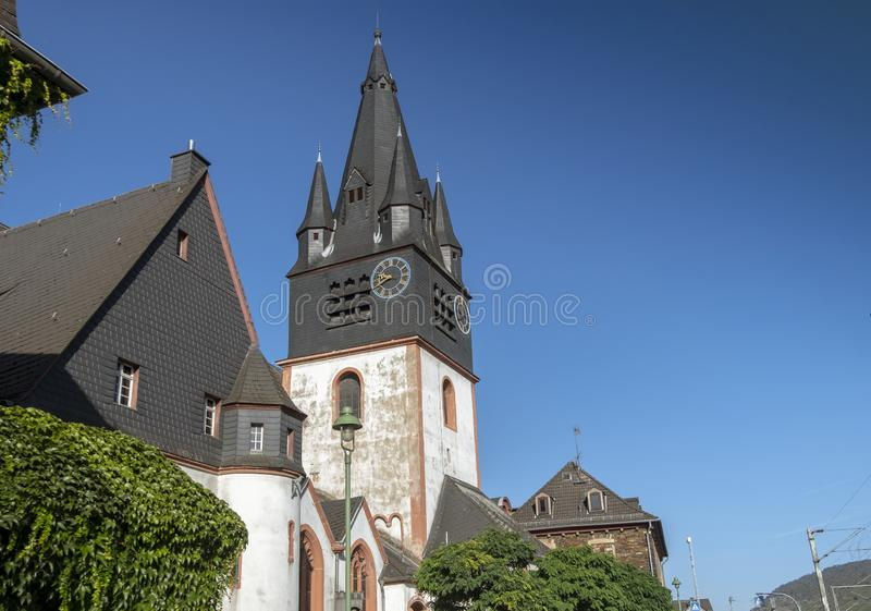 Saint Martin Church in Oberlahnstein, a part of the city of Lahnstein. In Rhineland-Palatinate in Germany. The oldest parts of the church were built approx royalty free stock images