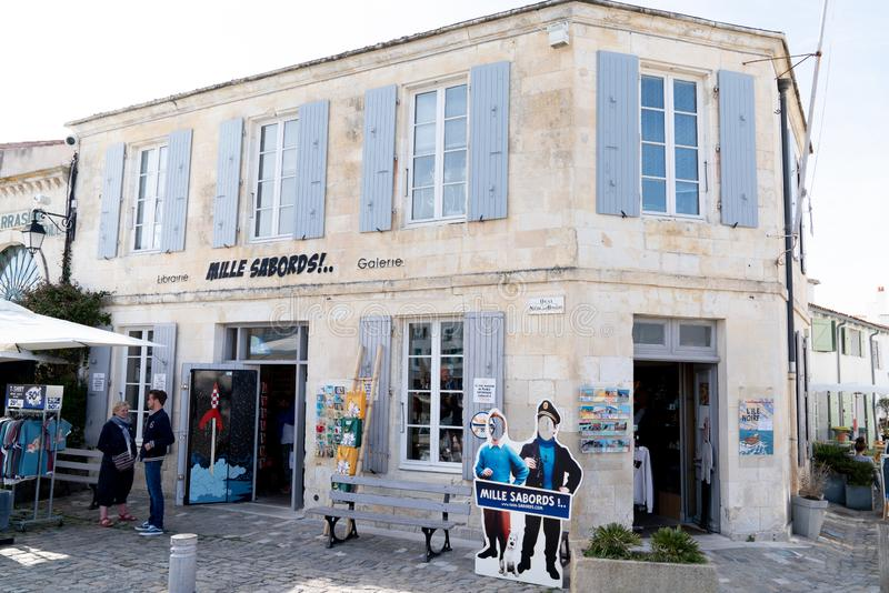 Saint Martin de Re, Charente / France - 05 02 2019 : the only one shop for Tintin in France in Isle Ile de Re. Saint Martin de Re, Charente  / France - 05 02 royalty free stock photo