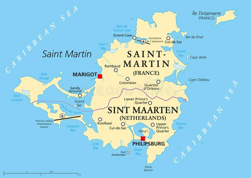 Download Saint Martin Island Political Map Stock Illustration    Illustration Of Cartography, Americas: 104231665