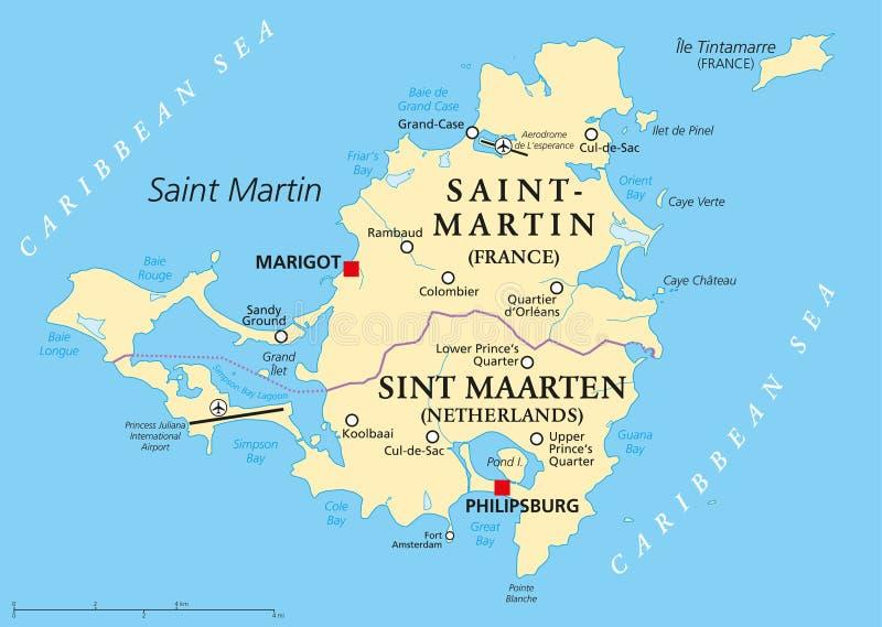 Download Saint Martin Island Political Map Stock Illustration    Illustration Of Cartography, Americas: 104231665