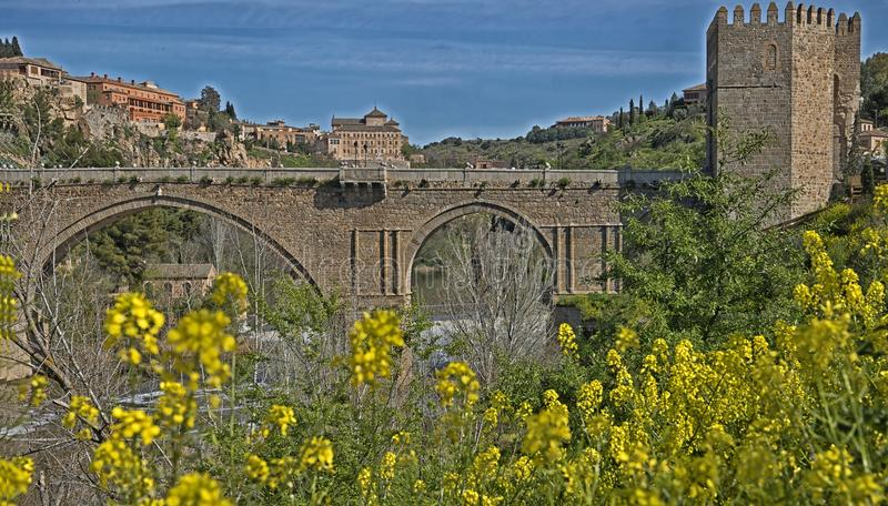 Saint Martin`s bridge, Toledo, Spain stock photos