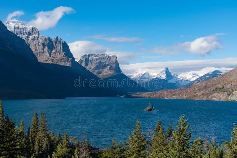 Saint Mary湖,冰川国家公园 库存图片
