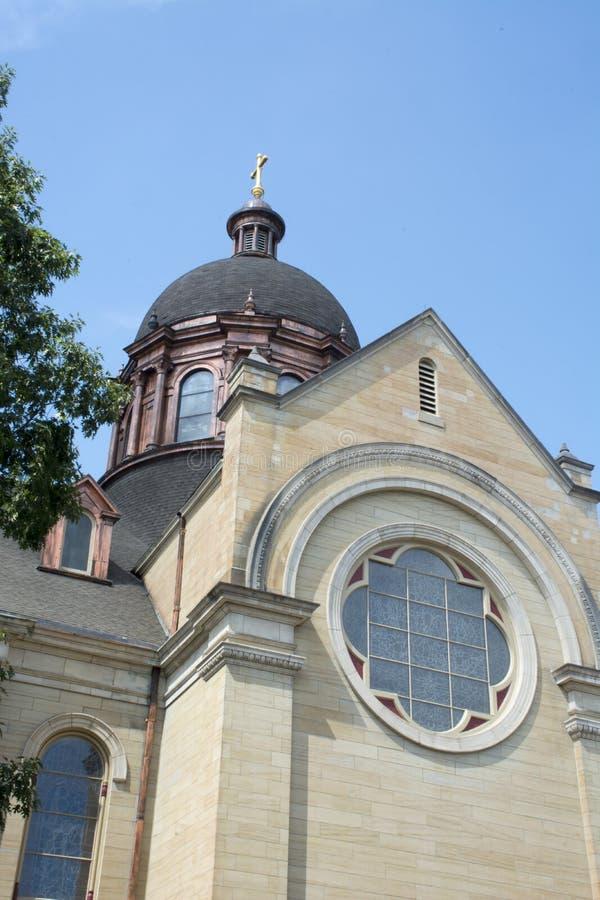Saint Mary Basilca, Marietta, Ohio. Historic church in Marietta Ohio. Saint Mary Basilica in Marietta Ohio. Built in he double horn design it is a major landmark royalty free stock images
