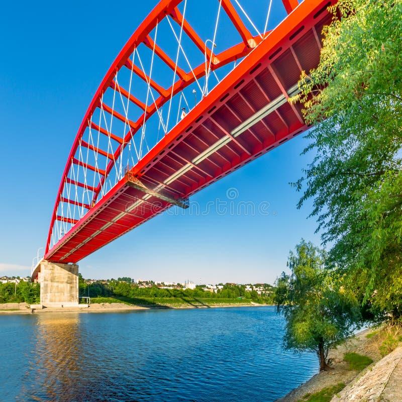 Saint Mary bridge in Cernavoda. Romania. Saint Mary bridge in Cernavoda. The bridge connects the city and its railway station across Danube - Black Sea canal royalty free stock photo