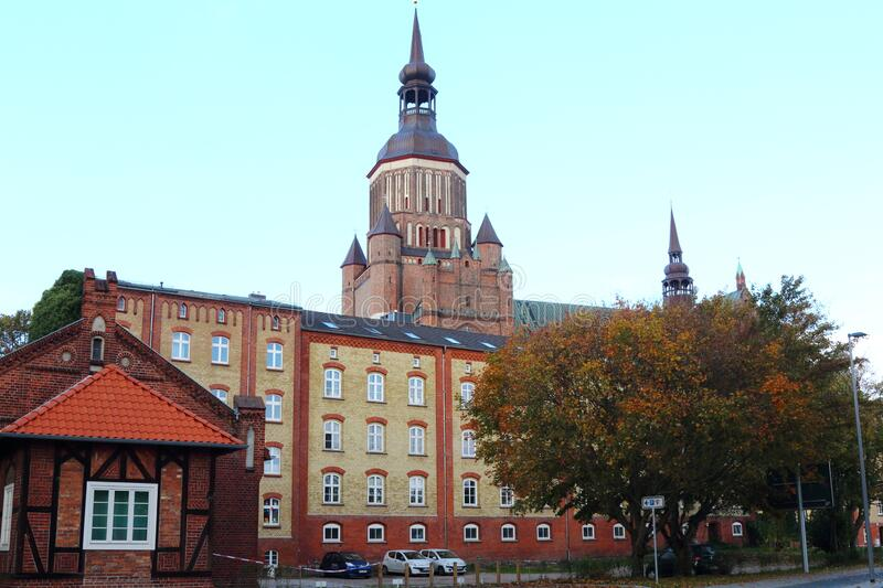 Saint Mary Church from Frankenwall, Stralsund, Germany royalty free stock photography
