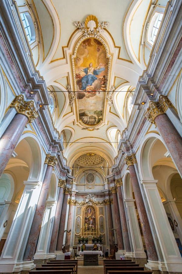Saint Mary Collegiate Church, Anguillara Sabazia, Rome Province, Lazio Italy. Anguillara Sabazia is a town and comune in the Metropolitan City of Rome, Lazio royalty free stock image