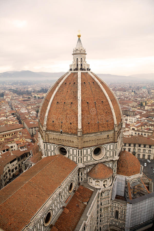 Saint Mary of the Flower Dome. Florence, Italy: Saint Mary of the Flower Dome, Florence Cathedral, (italian: Santa Maria del Fiore) and Florence town view from royalty free stock photo