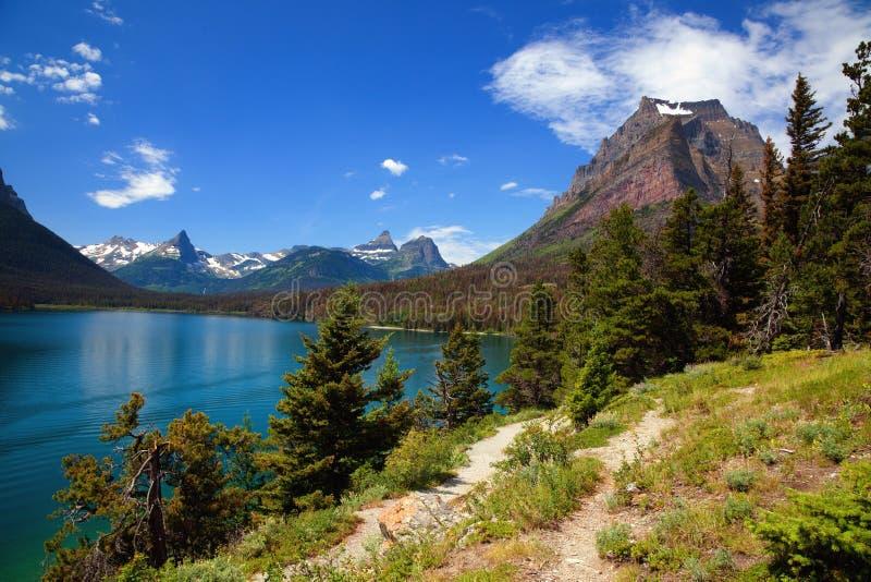 Saint Mary Lake en parc national de glacier, Montana images stock