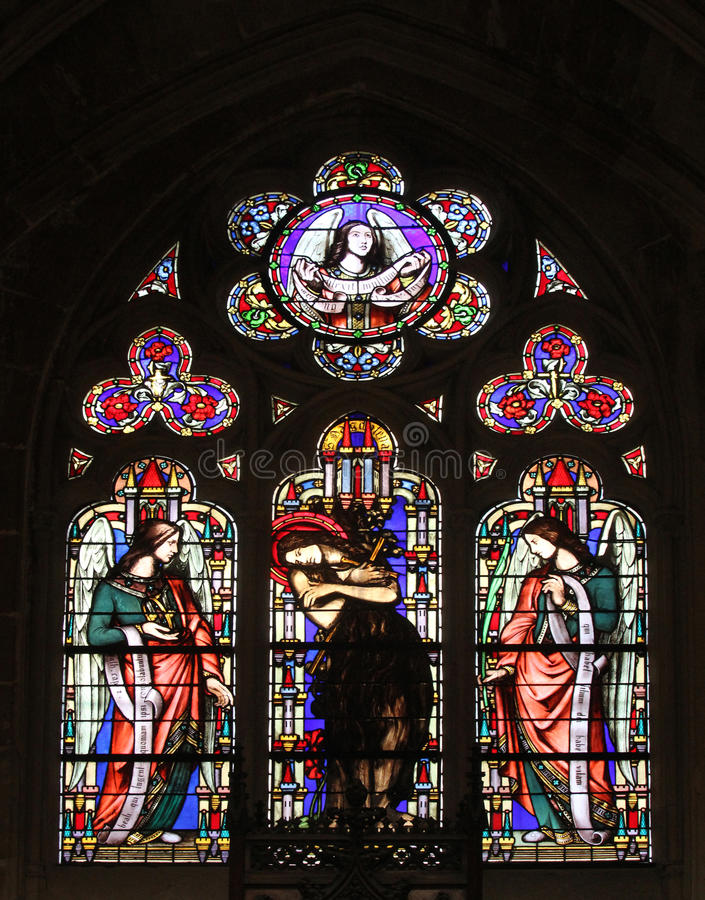 Saint Mary Magdalene. Stained glass window from Saint Germain-l`Auxerrois church, Paris stock images