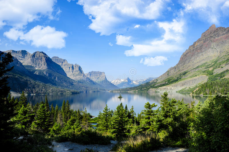 Saint Marys Lake at Glacier National Park royalty free stock photo