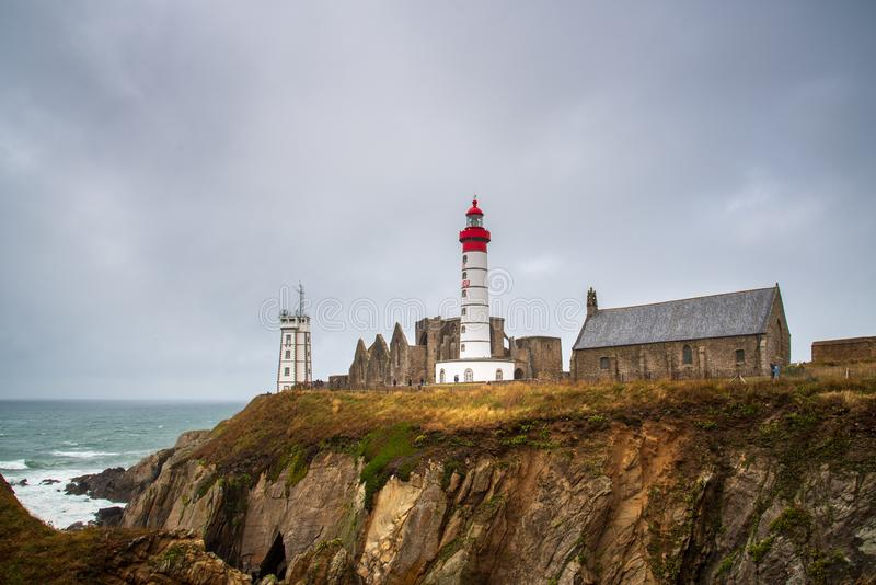 Saint Mathieu Lighthouse de Pointe en Bretagne, France photos stock