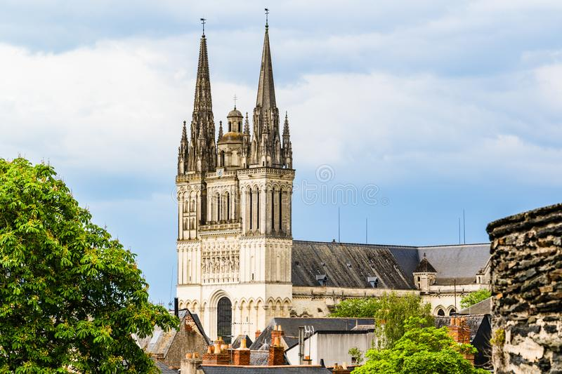 The Saint Maurice Cathedral of Angers, France. Angers, France: Saint Maurice Cathedral of Angers, built between the 11th and 16th Centuries, classified in 1862 stock photos