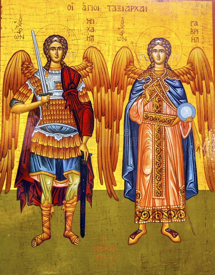 Saint Michael Angels Golden Icon Saint George`s Church Madaba Jordan stock photos