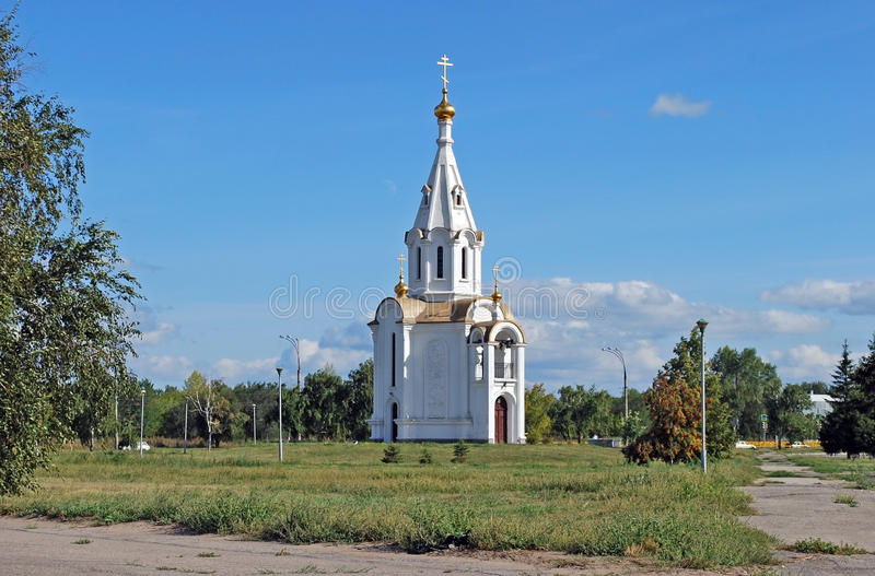 Saint Michael the Archangel`s chapel on Yuzhnoye Highway Street. Togliatti. Russia. Saint Michael the Archangel`s chapel on Yuzhnoye Highway Street in the park stock image