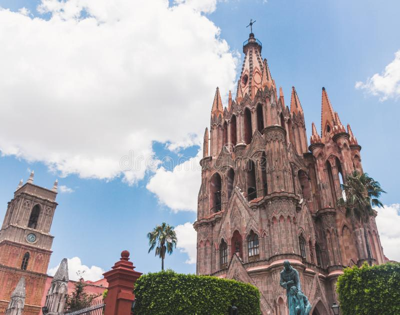 Saint Michael Archangel temple in Guanajuato Mexico. SAN MIGUEL DE ALLENDE, GUANAJUATO / MEXICO - 06 22 2017: Traditional Saint Michael Archangel temple in San stock image