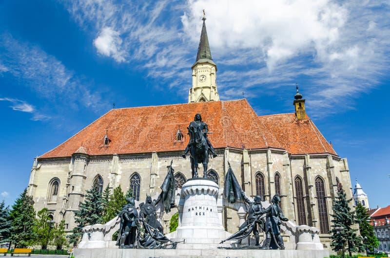 Saint Michael's gothic church and King Mathias stock photos