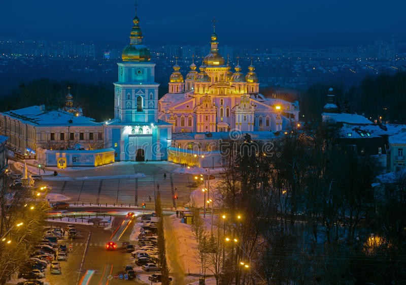 Saint Michael& x27;s Square top view at night. & x28;Kiev, Ukraine& x29;. Winter season so streets and buildings are powdered with snow stock image