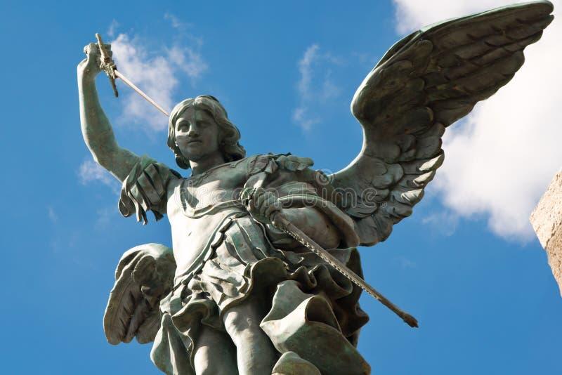 Saint Michael statue, Castel Sant'Angelo, Rome stock photo