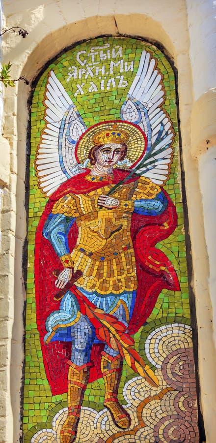 Saint Miichael Angel Mosaic Lavra Cathedral Kiev Ucrânia imagem de stock