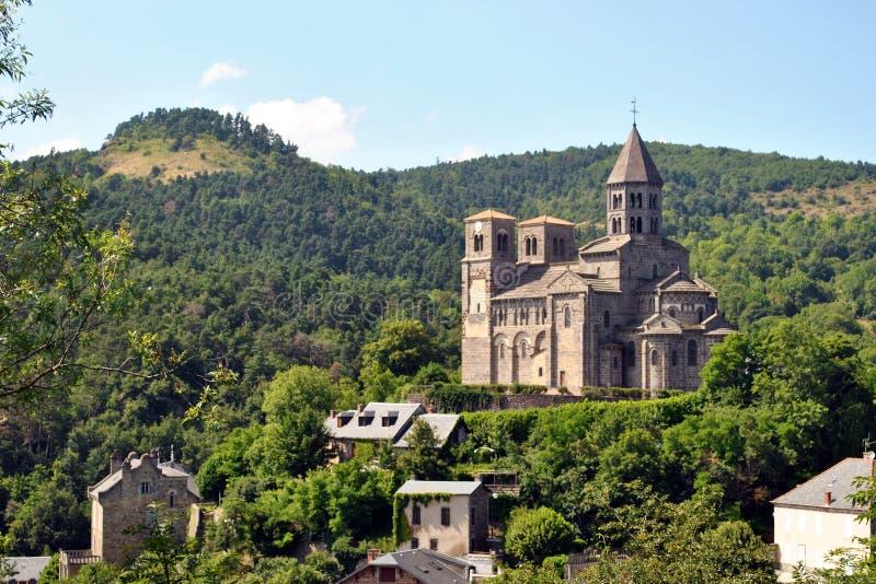 Saint Nectaire kyrka royaltyfria bilder