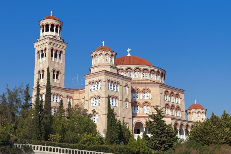 Saint Nektarios church at Aegina, Greece stock image