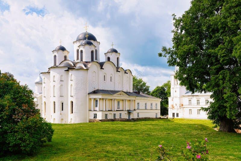 Saint Nicholas Cathedral Yaroslavl Courtyard in Veliky Novgorod, Russia royalty free stock photo