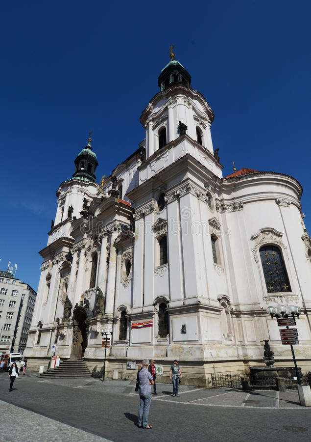 Saint Nicholas Church in Prague stock images