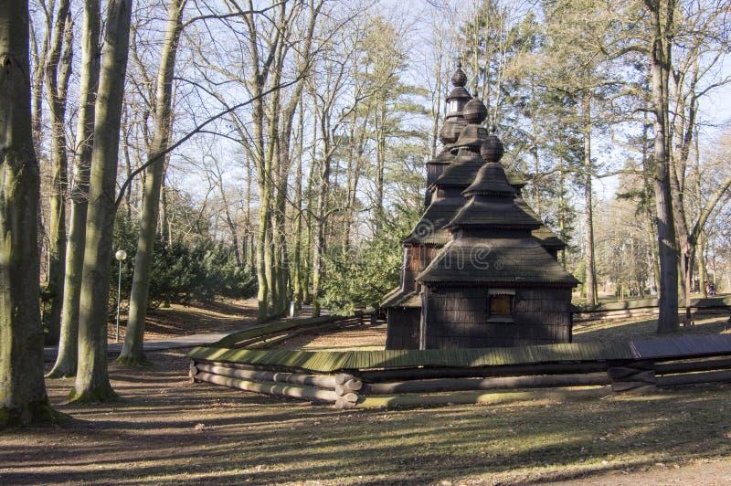 Saint Nicholas Church Wonderer placed in public gardens, Hradec Kralove, Czech republic. Sunny day, autumn season royalty free stock photo