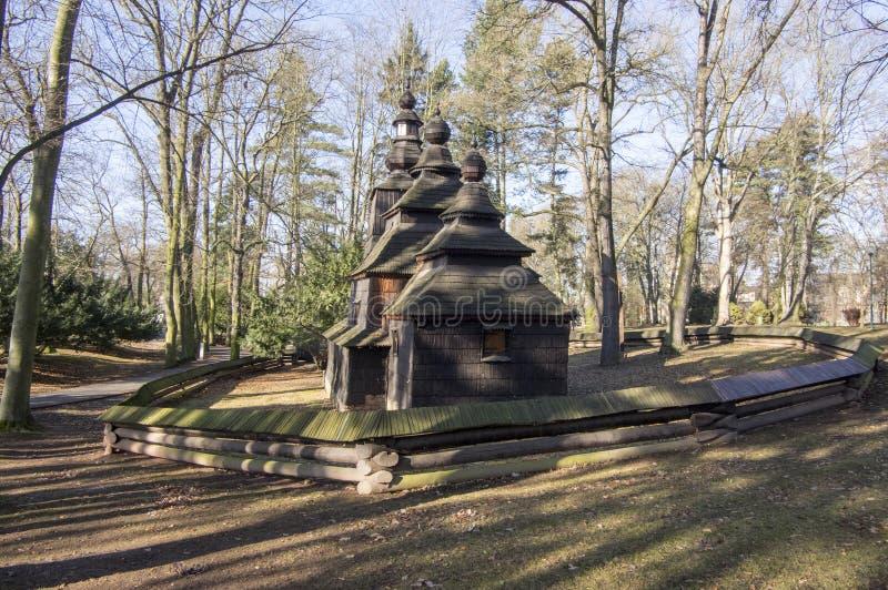 Saint Nicholas Church Wonderer placed in public gardens, Hradec Kralove, Czech republic. Sunny day, autumn season royalty free stock photos