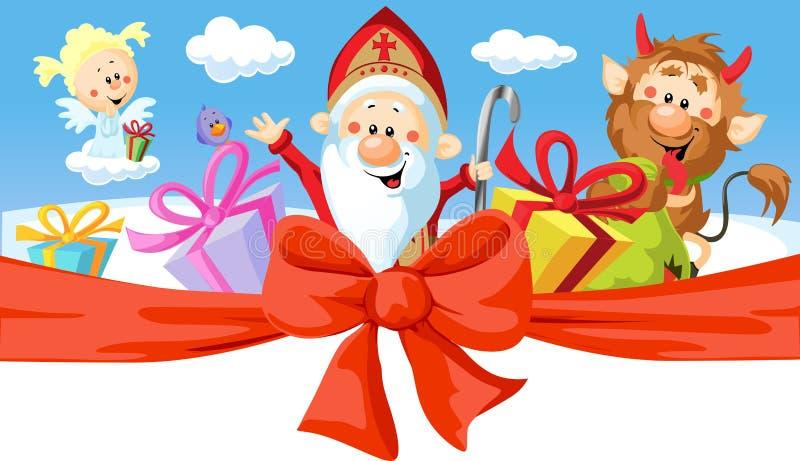 Saint Nicholas, devil and angel stock illustration