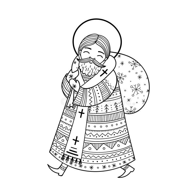 Saint Nicholas illustration in doodle boho style with ornaments stock illustration