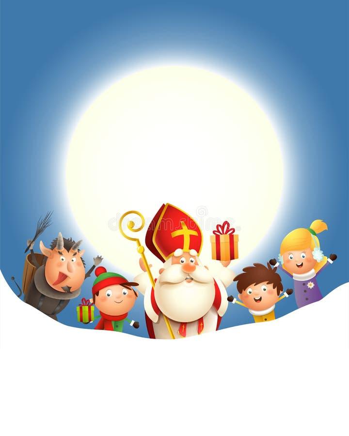 Saint Nicholas Krampus e as crianças comemoram o feriado na frente da lua - fundo azul com espaço da cópia ilustração royalty free