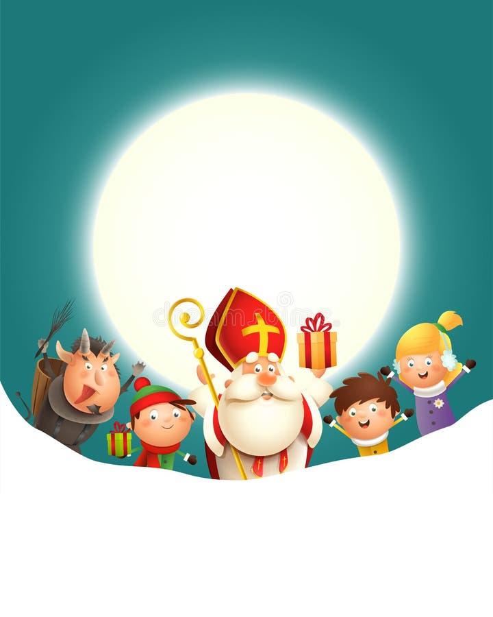 Saint Nicholas Krampus e as crianças comemoram o feriado na frente da lua - fundo de turquesa com espaço da cópia ilustração stock