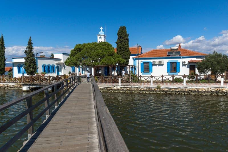 Saint Nicholas Monastery situé sur deux îles à Porto Lagos, Macédoine est et Thra photo stock