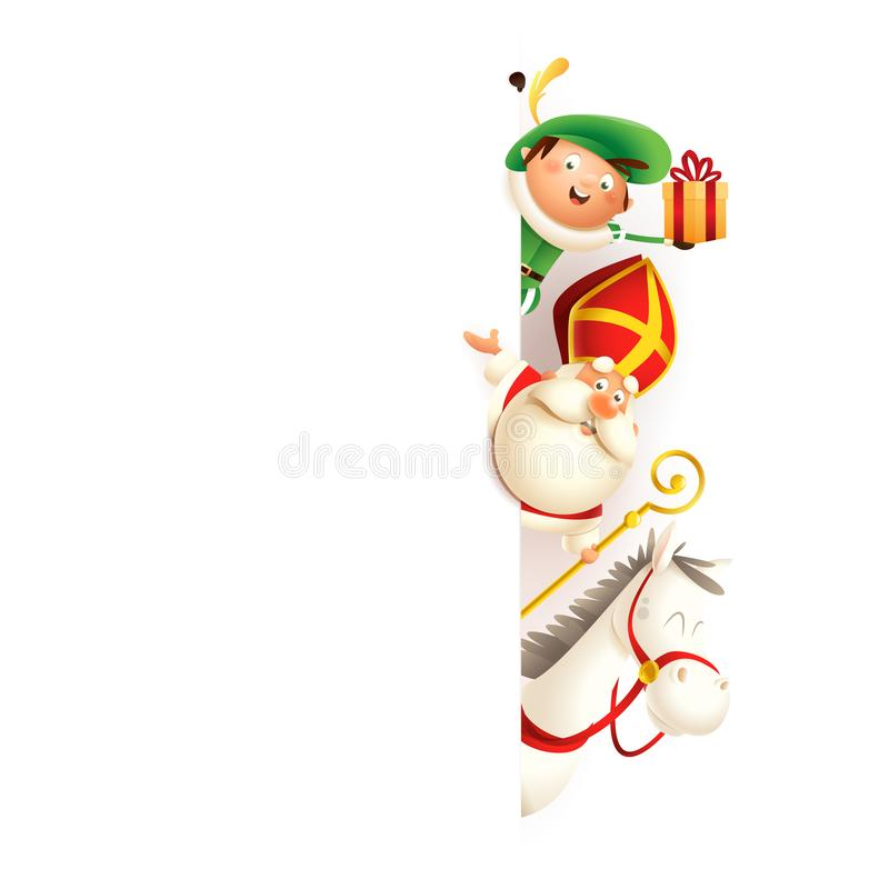 Free Saint Nicholas Or Sinterklaas Horse Amerigo And Zwarte Piet On Right Side Of Board - Happy Cute Characters Celebrate Holidays - Ve Stock Photography - 149479142