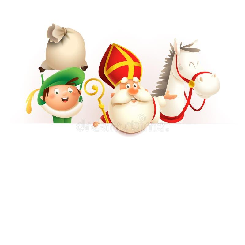 Free Saint Nicholas Or Sinterklaas Horse And Helper Zwarte Piet On Board - Happy Cute Characters Celebrate Dutch Holiday - Vector Illus Stock Photos - 149479133